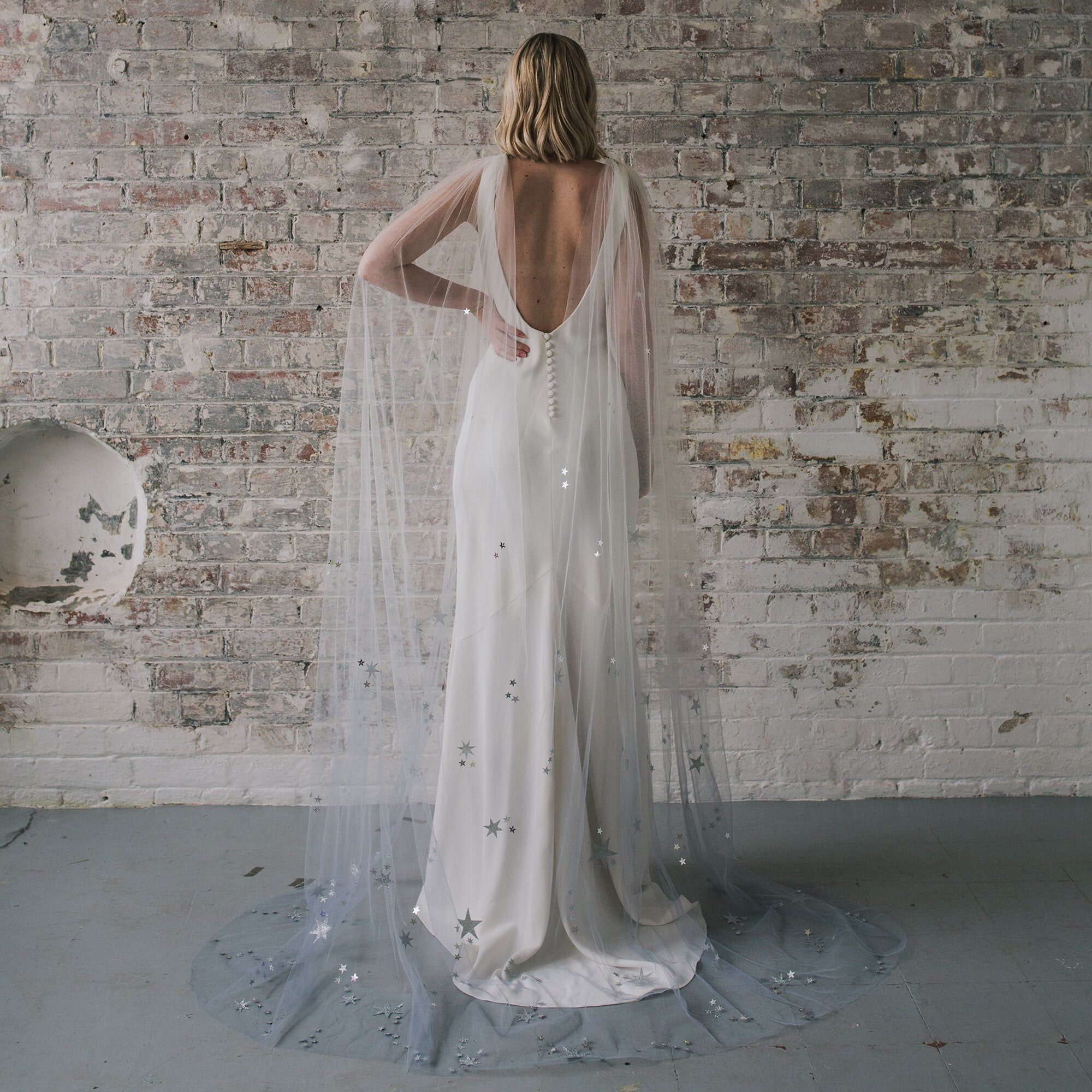 Nebula Star Embellished Ombre Dip Dye Bridal Tulle Cape Etsy Dip Dye Wedding Dress Dye Wedding Dress Bridal Cape