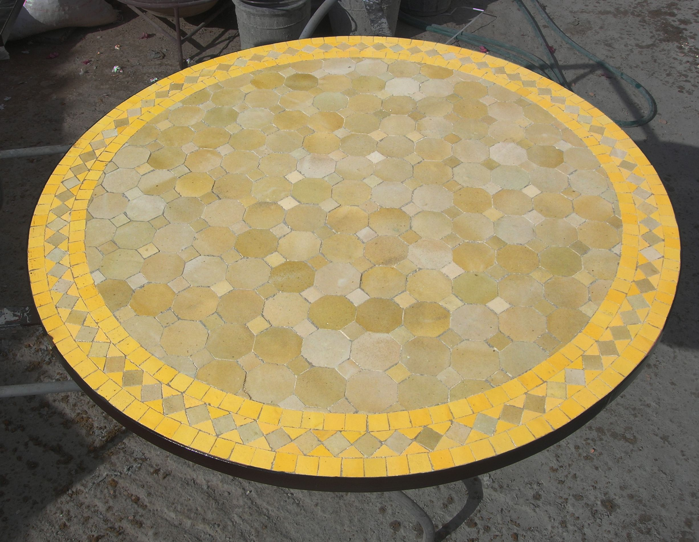 Table Ronde En Zellige Motif Tagra Art Et Sud Deco Round