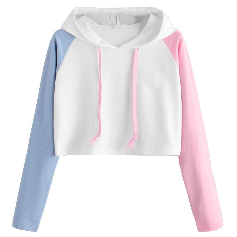 Best Sale Sweatshirt Women Lady Girl Plus Size Patchwork Long Sleeve Casual Crop Jumper Pullover Crop Tops Moletom Feminina In 2021 Sweatshirts Women Womens Sweatshirts Fashion Hoodies Womens [ 1000 x 1000 Pixel ]