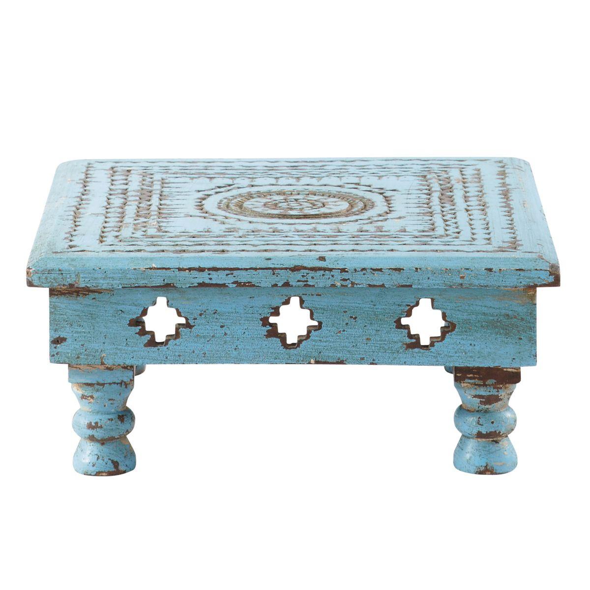 Atul Blue Carved Wood Table 49 90 Avec Images Bois Sculpte Table Bois Mobilier Bleu