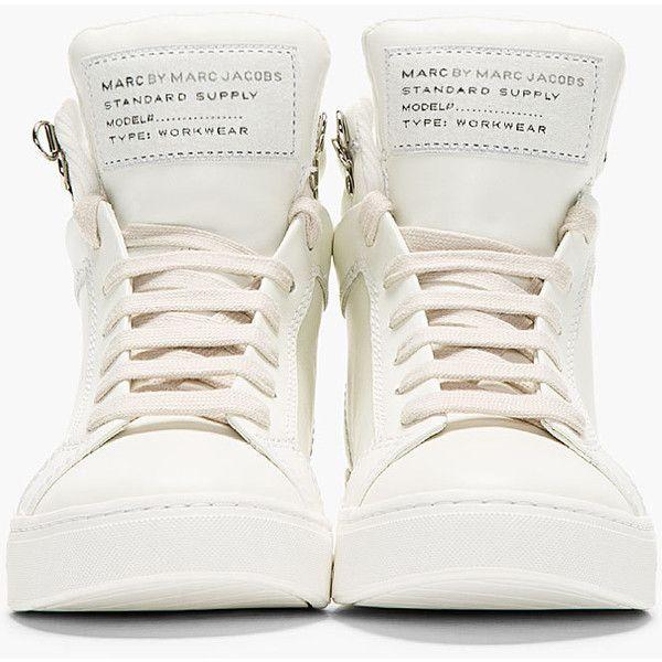 separationsskor ny autentisk senaste modet MARC BY MARC JACOBS White Leather Cute Kicks High-Top Sneakers. I ...