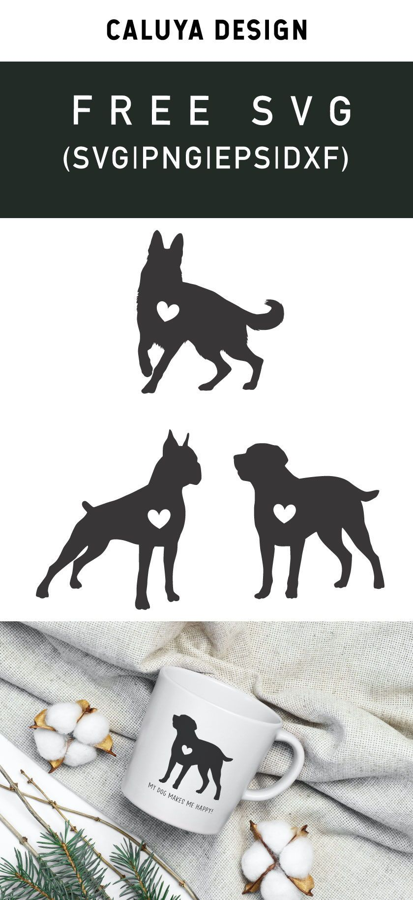 Free Big Dog Silhouette With Heart Svg Png Eps Dxf In 2020 Dog Silhouette Svg Free Printable Clip Art