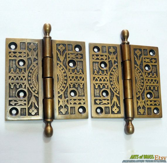 Pair 2 Pcs Antique Vintage Solid Brass Large Door Hinges Decorative Engraved Door Hinges Solid Brass Vintage House