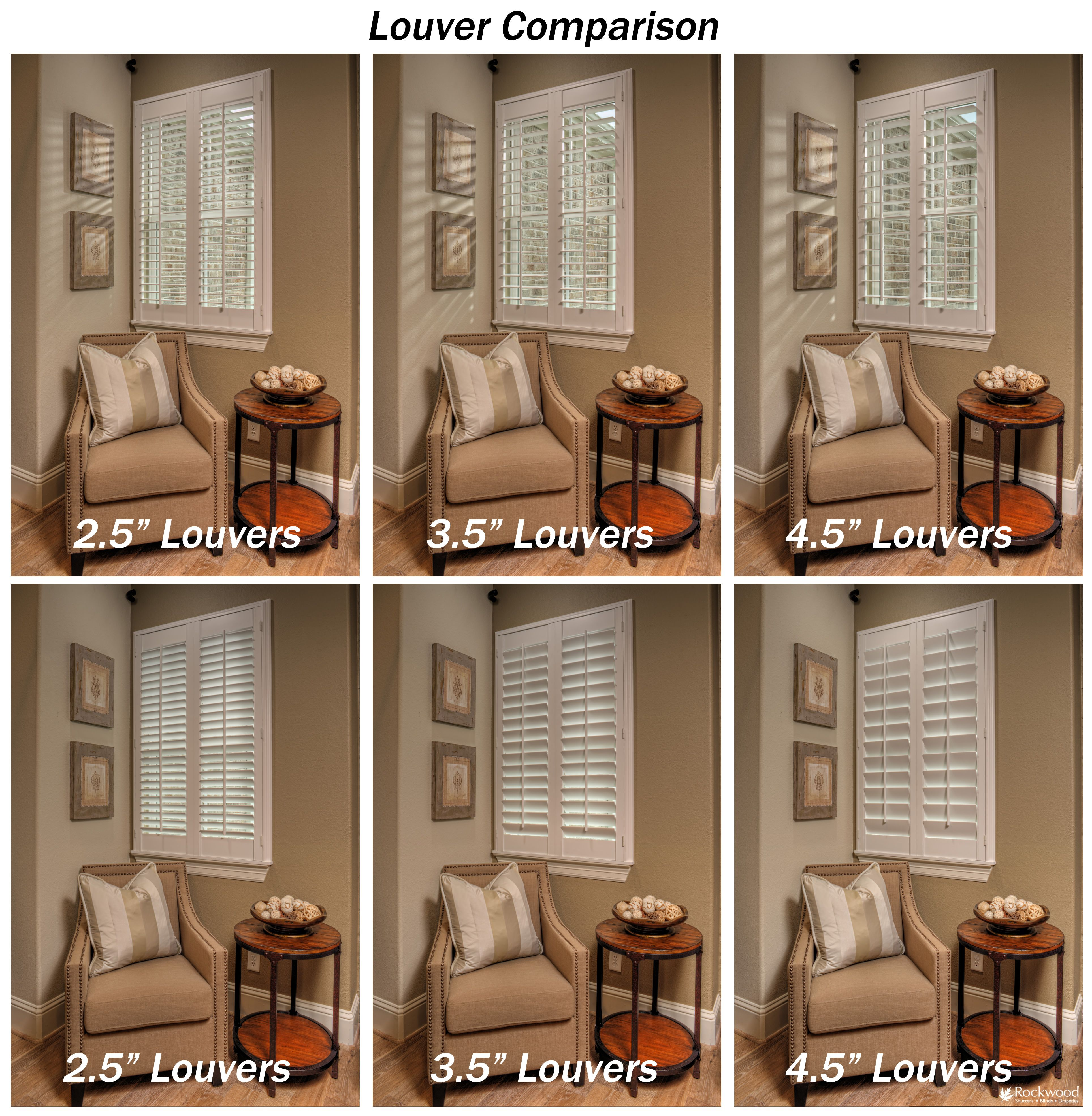 A Visual Comparison Of Louver Sizes For Window Shutters Living
