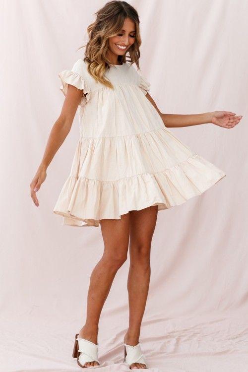 Hyacinth Ruffle Sleeve Smock Dress Beige | Popular dresses