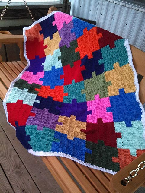 Ravelry Autism Awareness Puzzle Afghan Pattern By Roberta