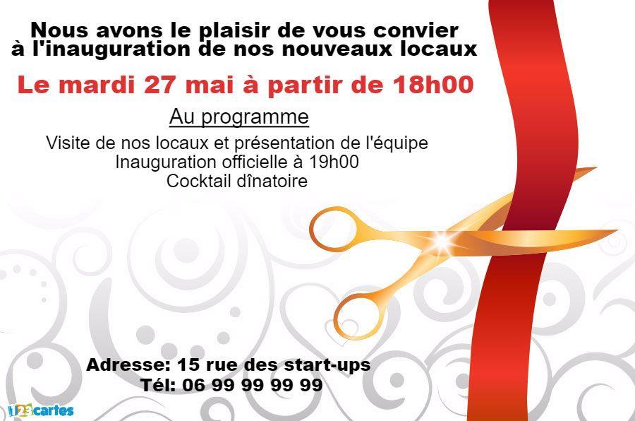 Invitation Inauguration Ciseaux Et Ruban Rouge Invitation