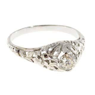 Photo of 1930s Art Deco Old Mine Brilliant Cut Diamond Gold Engagement Ring