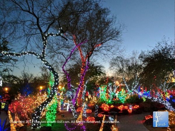 the festive annual cactus garden light display at ethel m chocolate factory in henderson