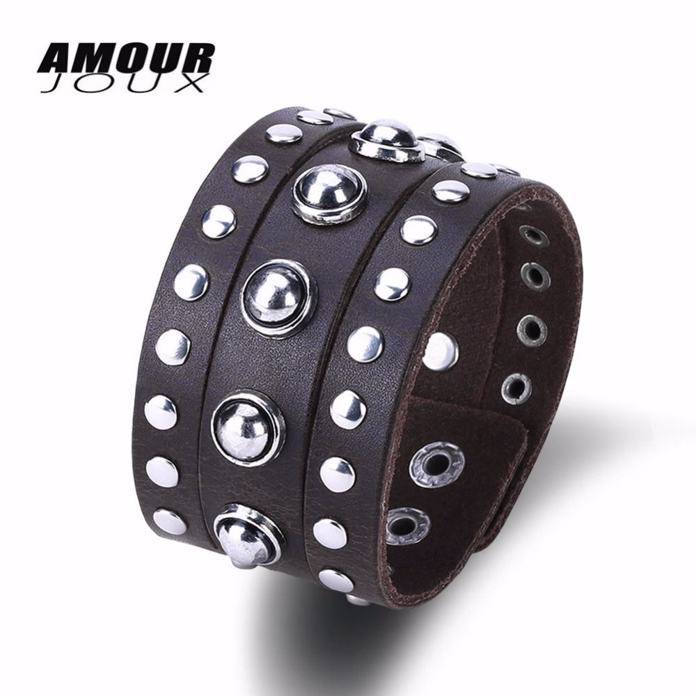 Amourjoux fashion vintage genuine leather bracelet women men charm