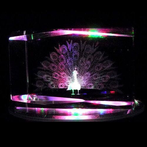 Peacock Bird 3D Laser Etched Crystal Display Light Base   eBay