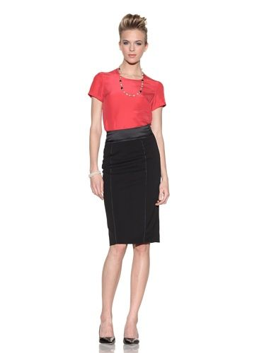 80% OFF Giorgio Armani Women\'s Blouse with Back Buttons (Pink/Melon)