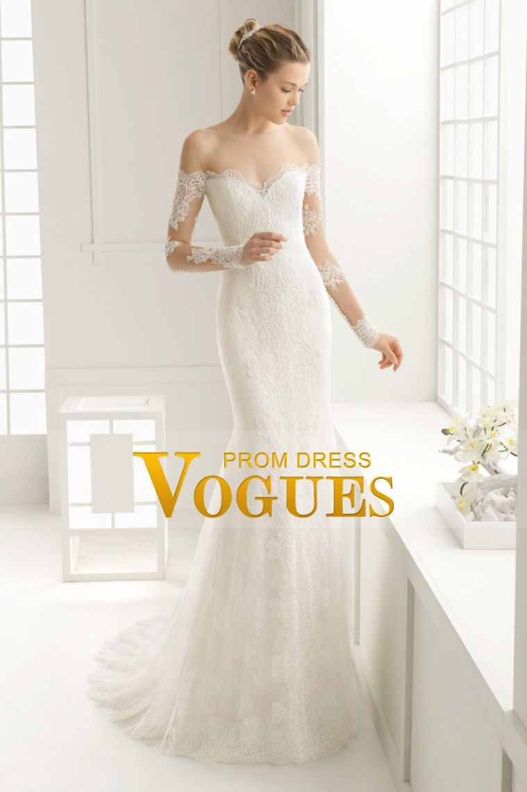 scoop long sleeves mermaid wedding dresses tulle with applique