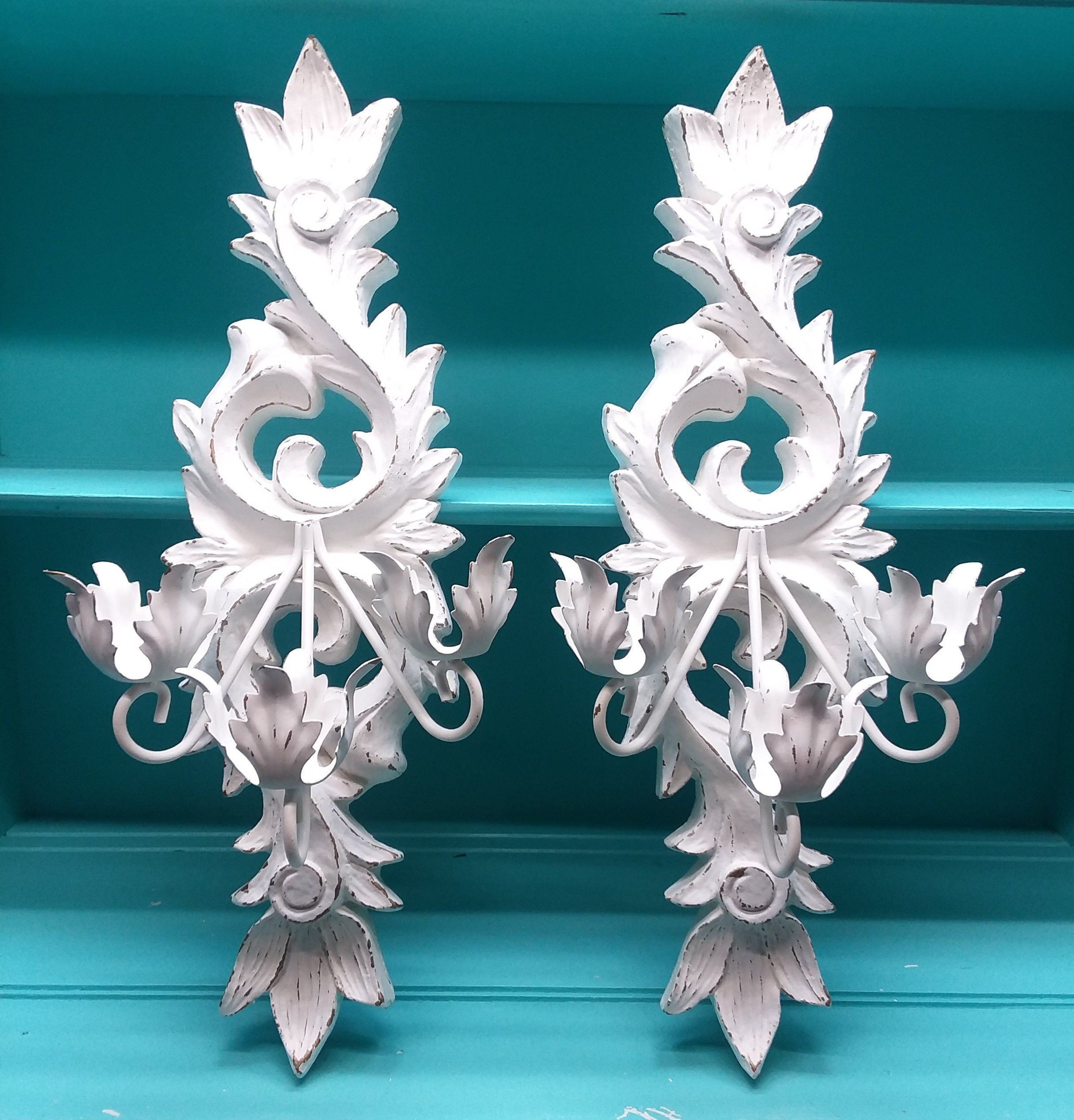 Large Shabby Chic Vintage Ornate Candle Wall Sconces ... on Decorative Wall Sconces Candle Holders Chrome Nickel id=46729