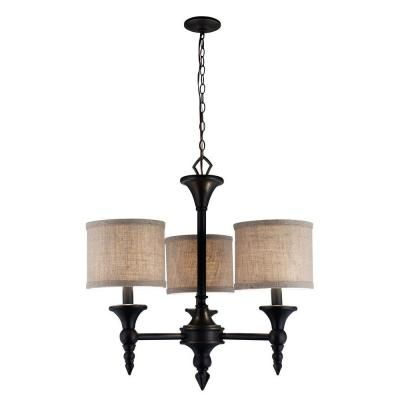 World Imports Jaxson Collection 3 Light Oil Rubbed Bronze Chandelier With Crafty Burlap Fabric Shades 9770 88 The Home Depot