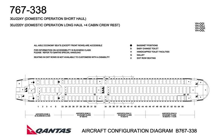 QANTAS AIRLINES BOEING 767-300 AIRCRAFT SEATING CHART ...