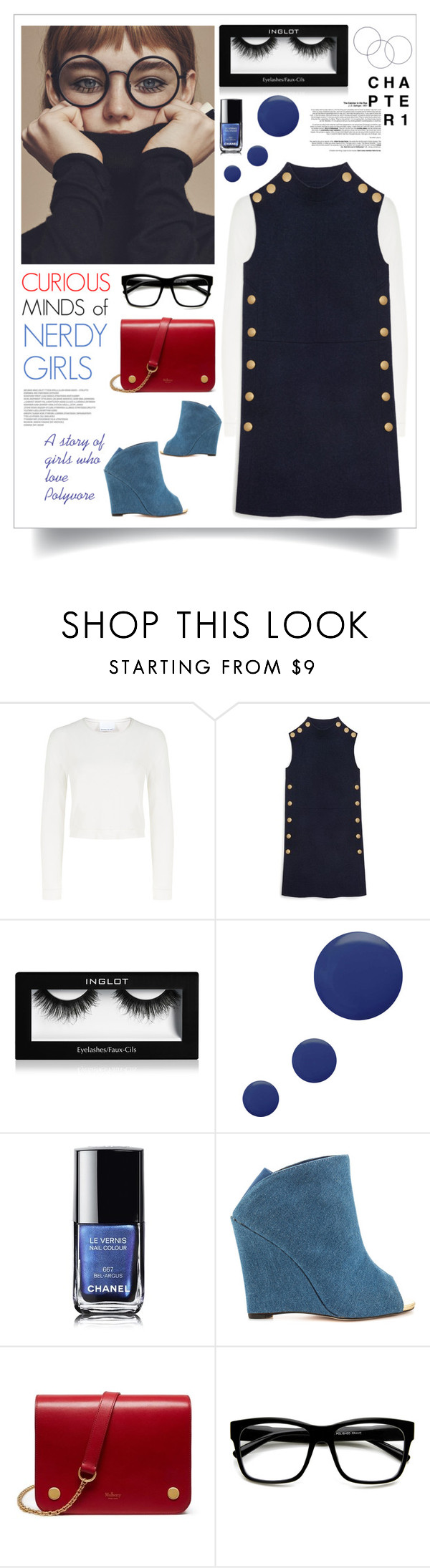 """""""Curious Minds of Nerdy Girls"""" by watereverysunday ❤ liked on Polyvore featuring Charlie May, Mulberry, Inglot, Topshop, Chanel, Liliana, Retrò, glasses, mulberry and shiftdress"""
