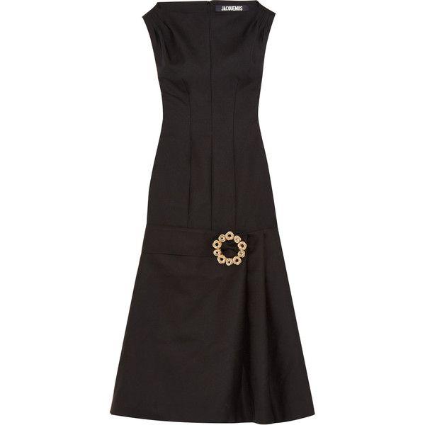La Robe Claude Longue Embellished Wool-blend Midi Dress - Black Jacquemus ZibYwZS