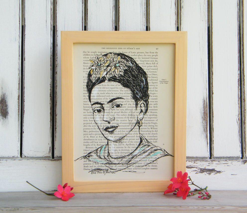 Frida Kahlo Portrait, Framed Art, Frida Kahlo Poster, Wooden Frame ...