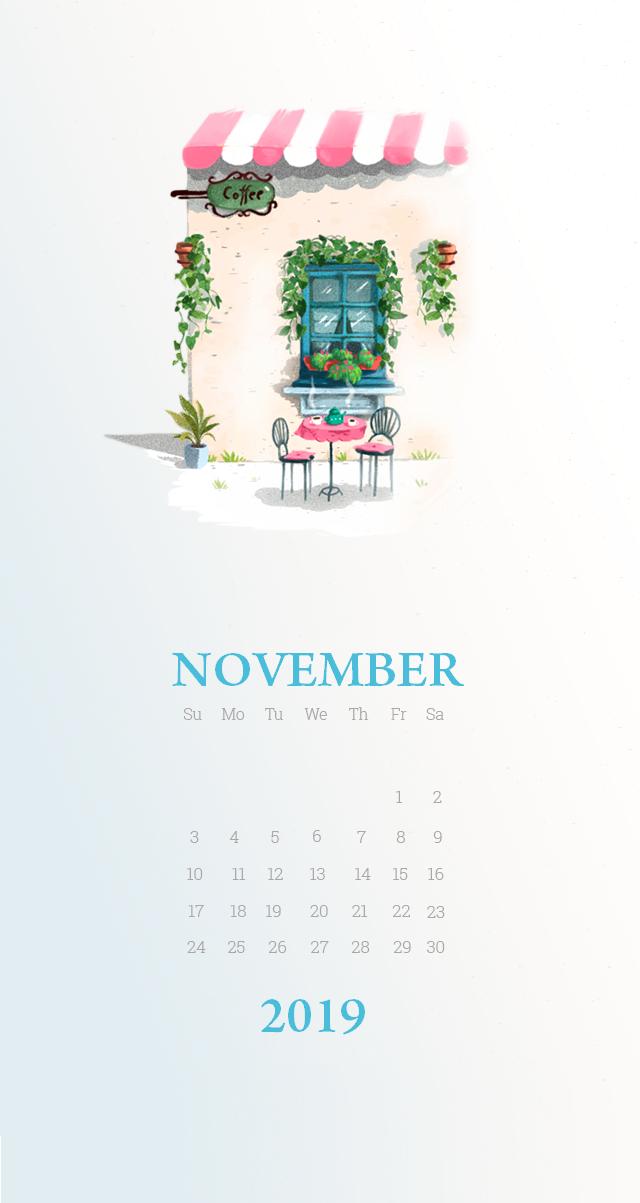 Beautiful November 2019 iPhone Wallpaper Calendar