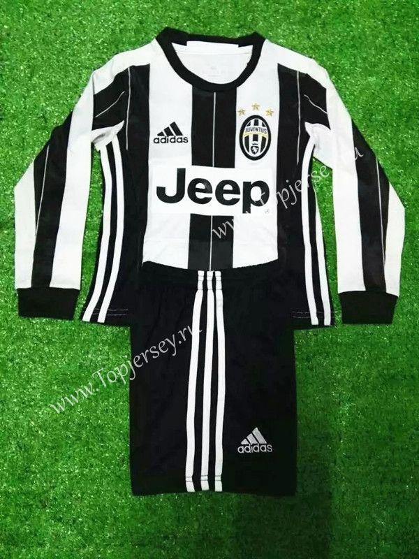 ba30189fe2b 2016-17 Juventus Home White and Black LS Kids Youth Soccer Uniform-Juventus