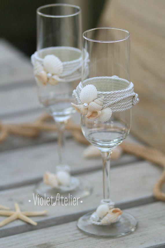 Beach Wedding Toasting Gles Seashells Flutes Champagne Set Sea Bride And Groom