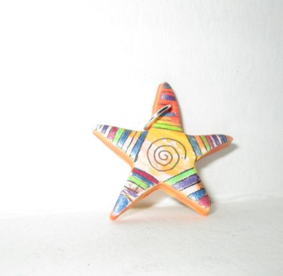 hand painted polymer clay star pendant, fun colors, rainbow