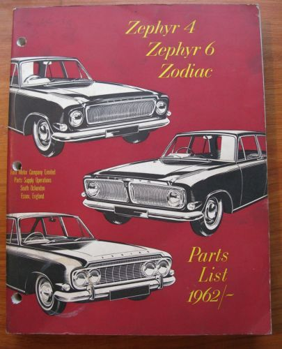 Ford Zephyr 4 6 Zodiac Parts Manual 1962 Original With Images