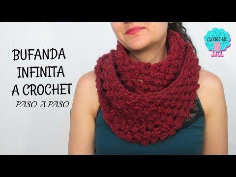 Tutorial bufanda infinita a crochet - YouTube | Cuellos de lana ...
