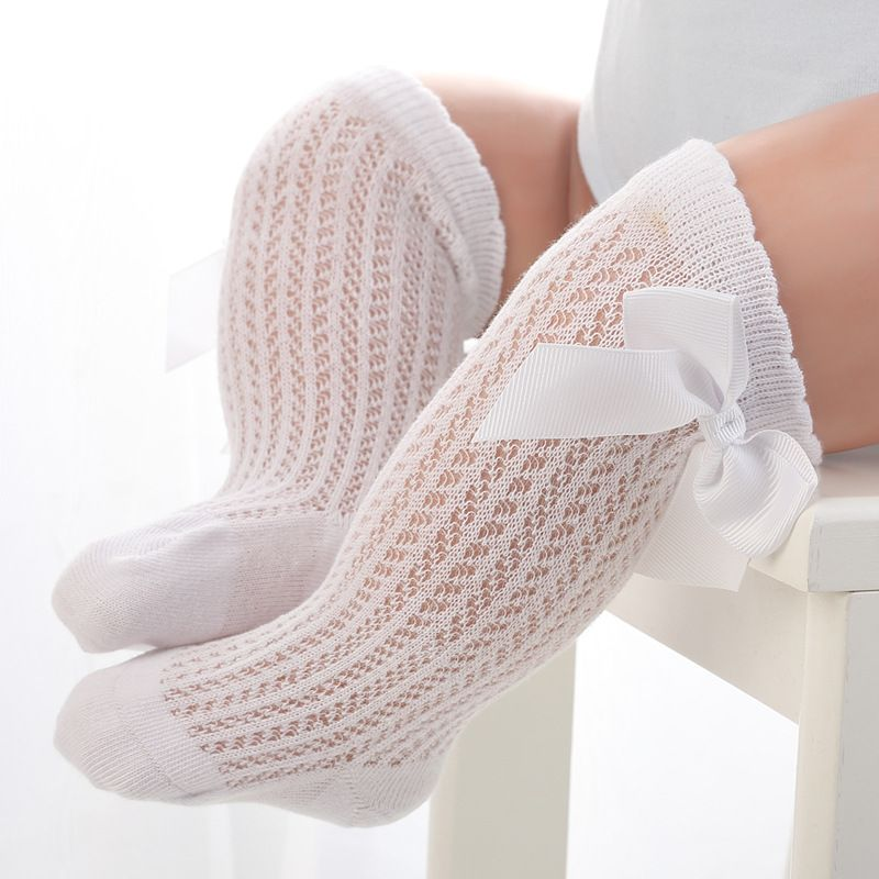 Newborn Baby Girl Toddler Cable Knit Knee High Cotton Socks Bow Long Stockings