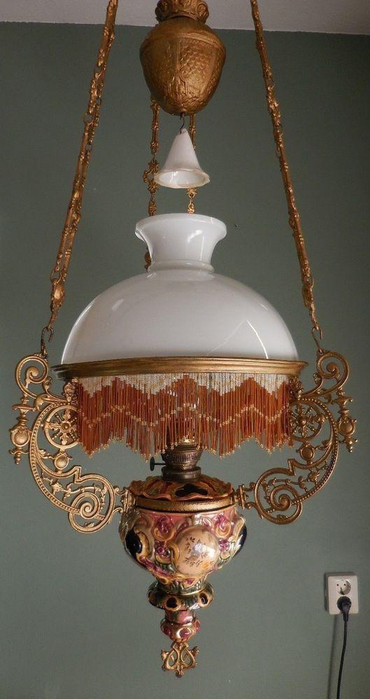 Antique Vintage Majolica Hanging Oil Lamp Kerosene Floral Design With Fringe LampsAntique