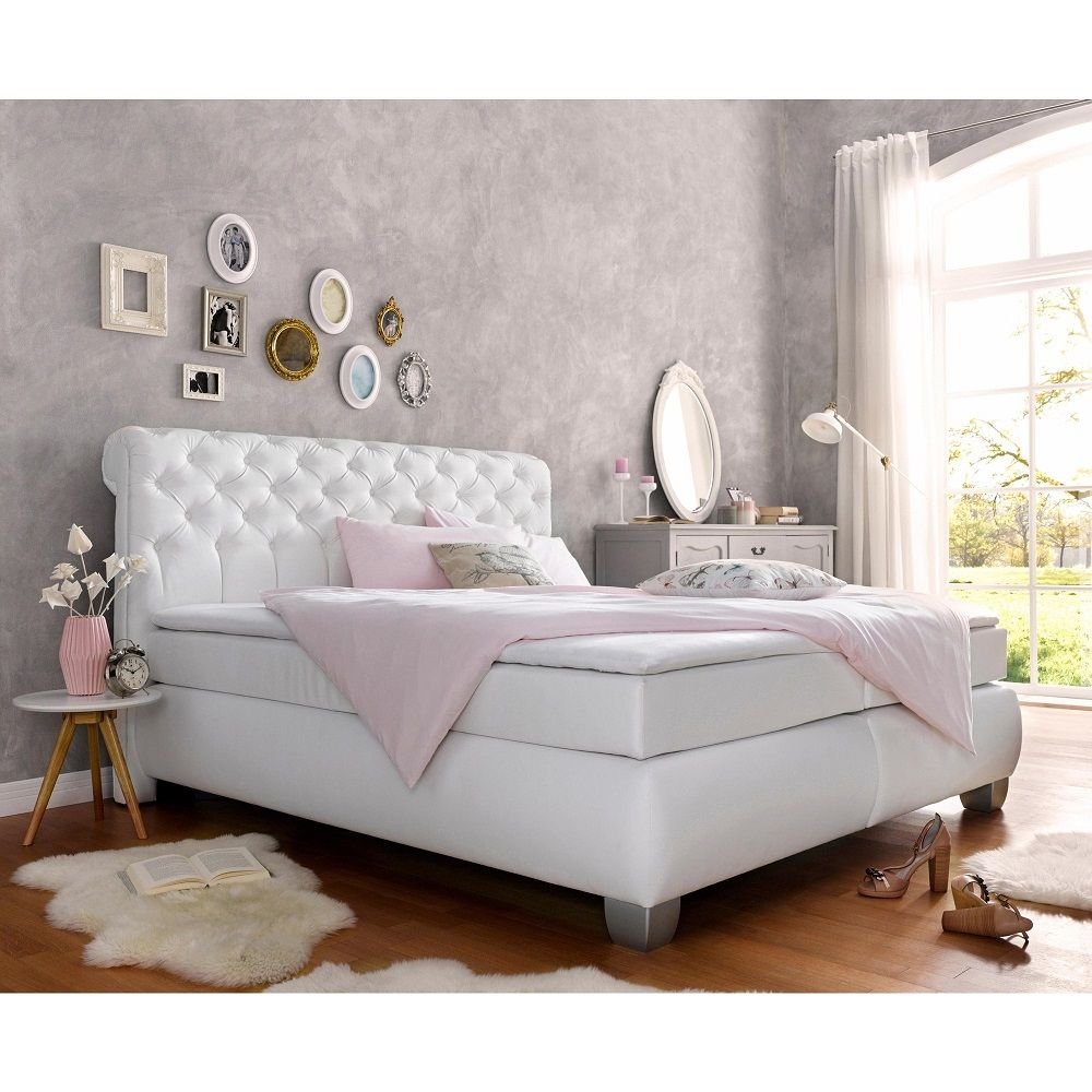 lit boxspring 2 pers t te de lit capitonn e sommier. Black Bedroom Furniture Sets. Home Design Ideas