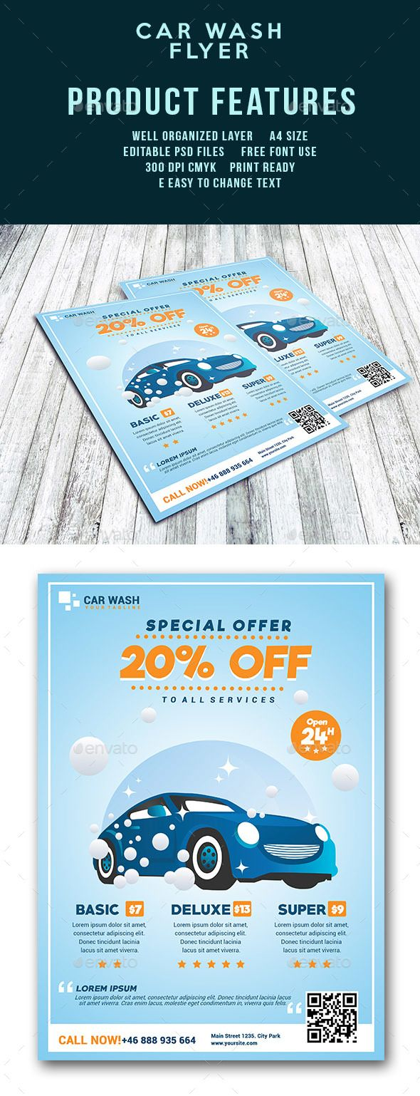 Car Wash Flyer Template | Folletos, Lavado de auto y Lavaderos