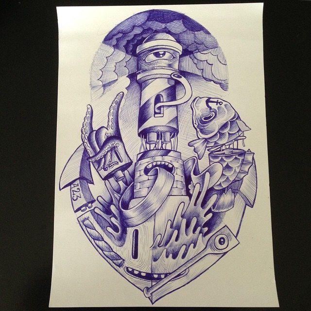 Ilustra pronta, minha ideia de FAROL. espero q curtam :) #bic #illustration