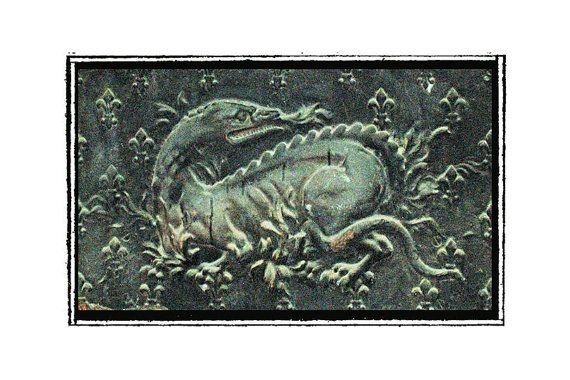 French Salamander or Medieval 'Dragon' Detail of by AerieImages, $22.00