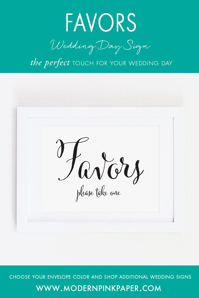 Favors, Please Take One Wedding Sign, WCP04ab | Pink paper, Favours ...
