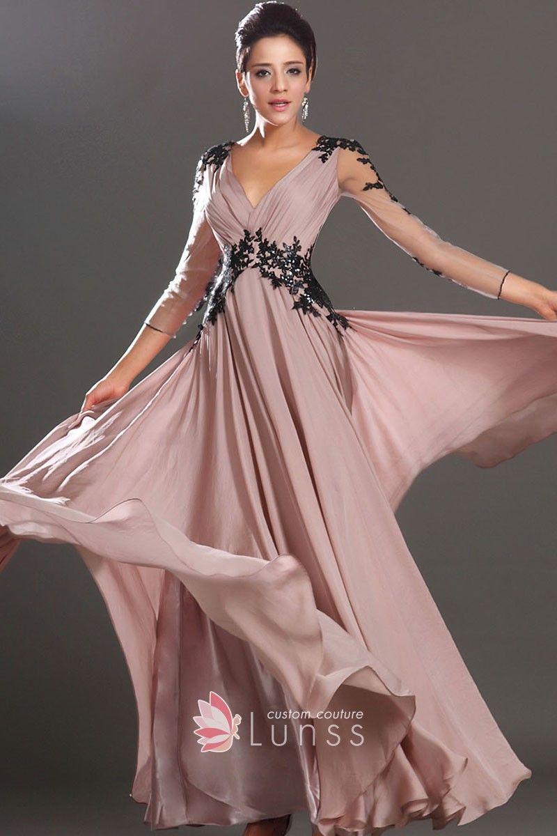 Black lace appliqued sheer long sleeve champagne deep v neckline