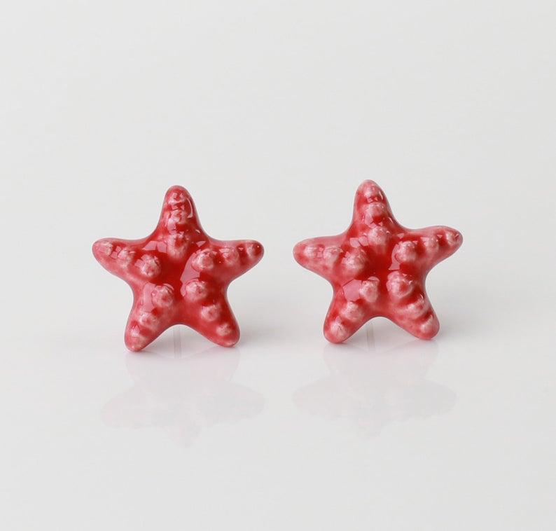 Starfish Earrings Ceramic Stud Earrings Sea Star Jewelry Red Etsy In 2020 Starfish Earrings Kids Earrings Star Jewelry