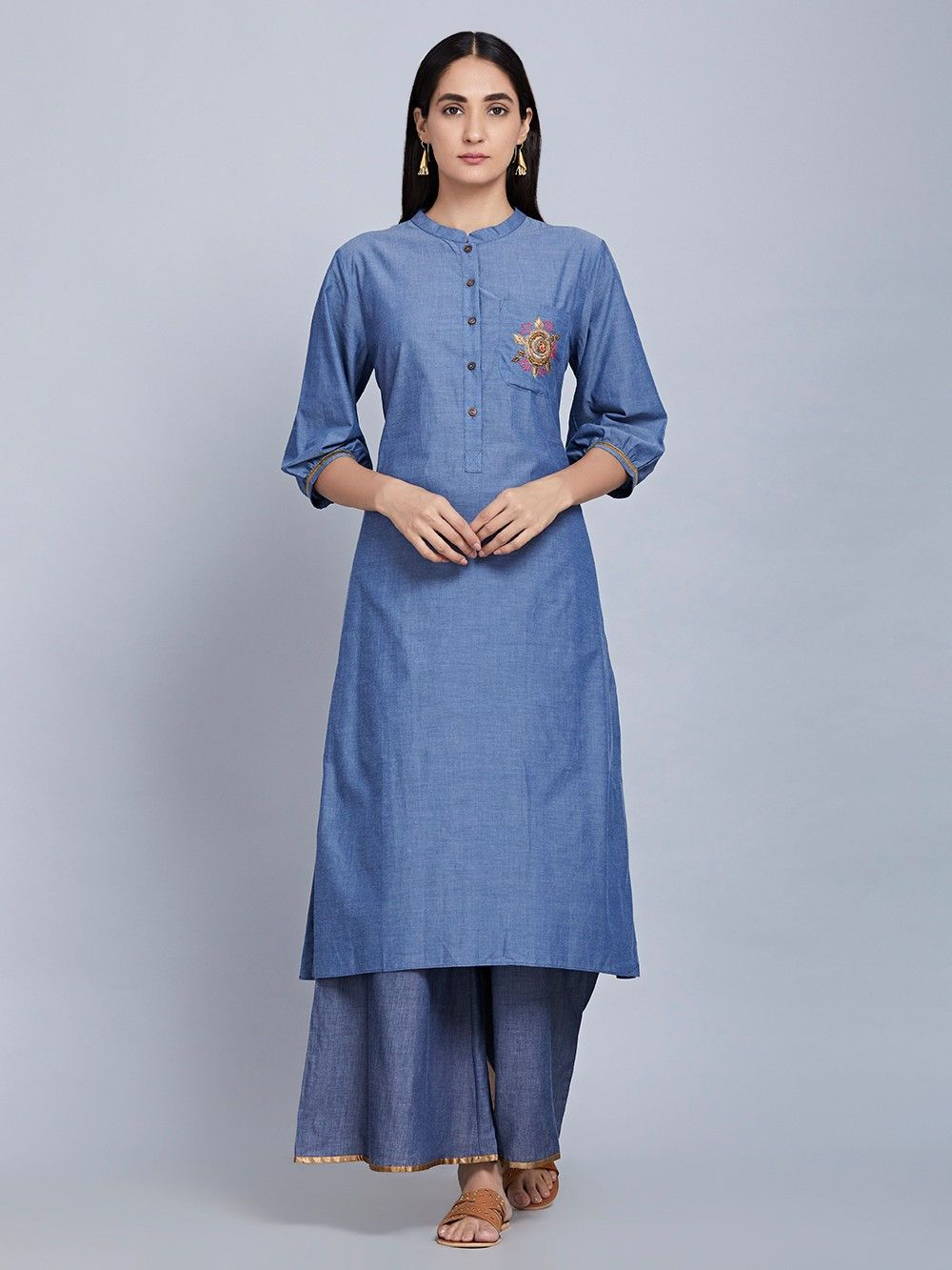 62c9526f5ed Buy Blue Hand Embroidered Cotton Denim Kurta online at Theloom ...
