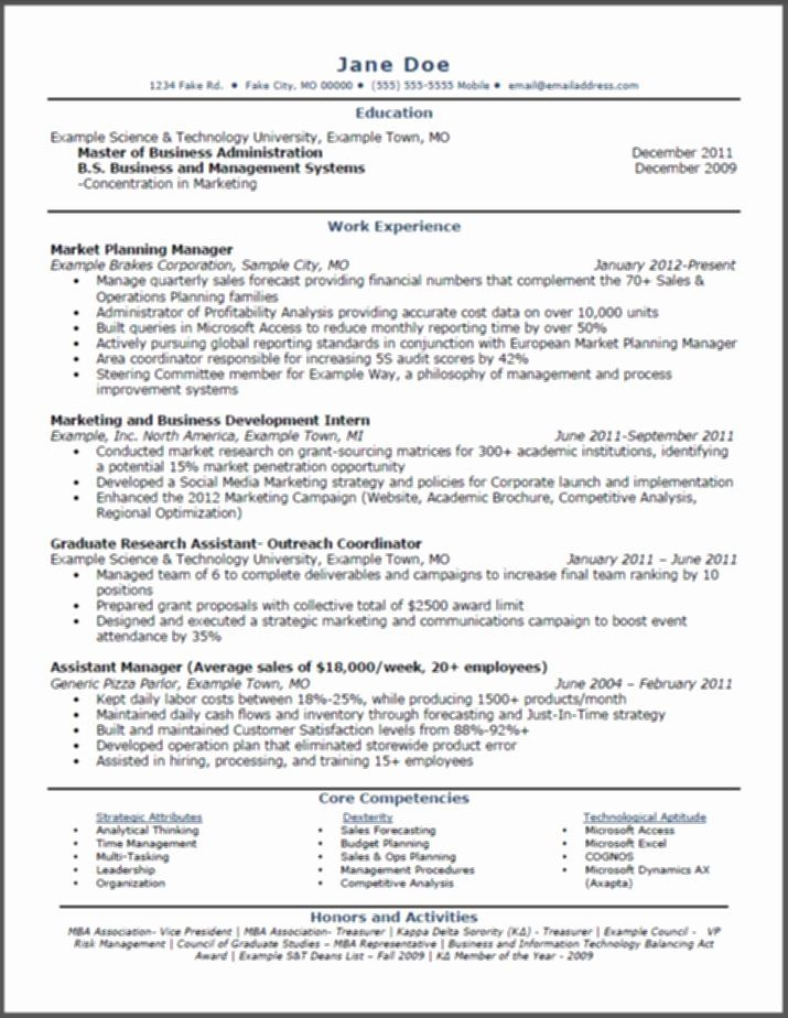 27 mba application resume examples in 2020  student
