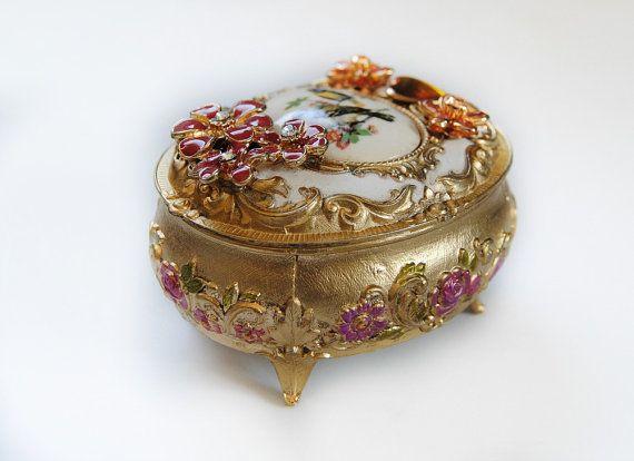SONG BIRDS Jewelry Box Vintage Metal Trinket Box Jewels Golden