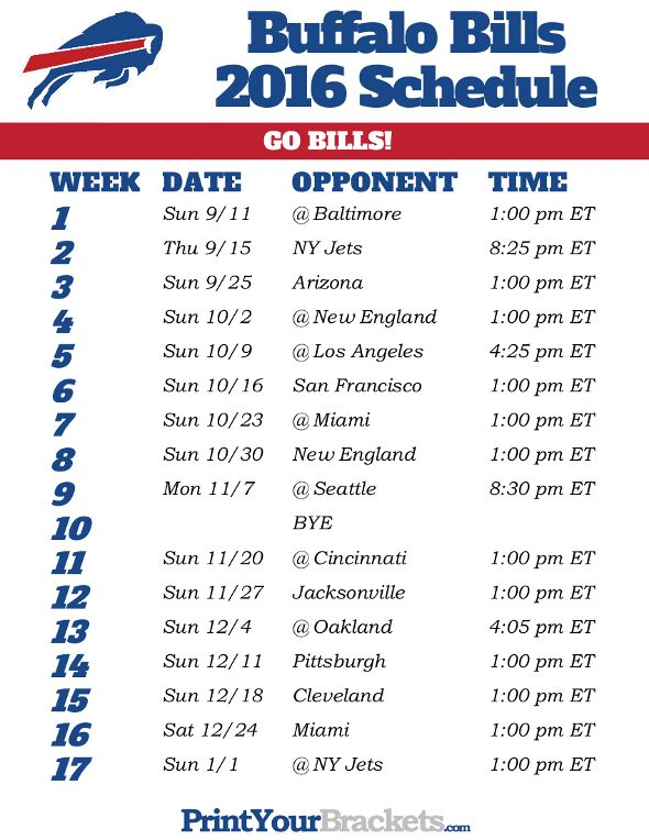 picture about Buffalo Bills Printable Schedule known as Buffalo Expenditures Program - 2016 Soccer Time  Aspects in direction of