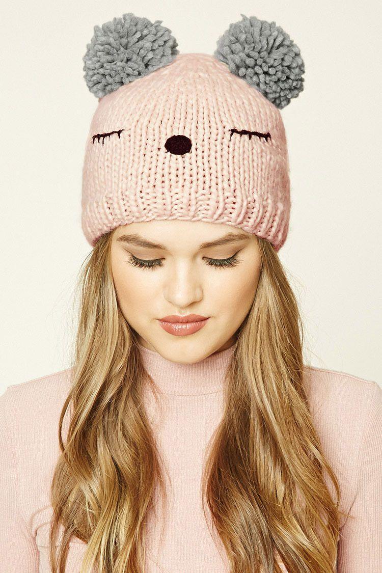 women's outdoor knit double fur pom pom beanie cap warm cute