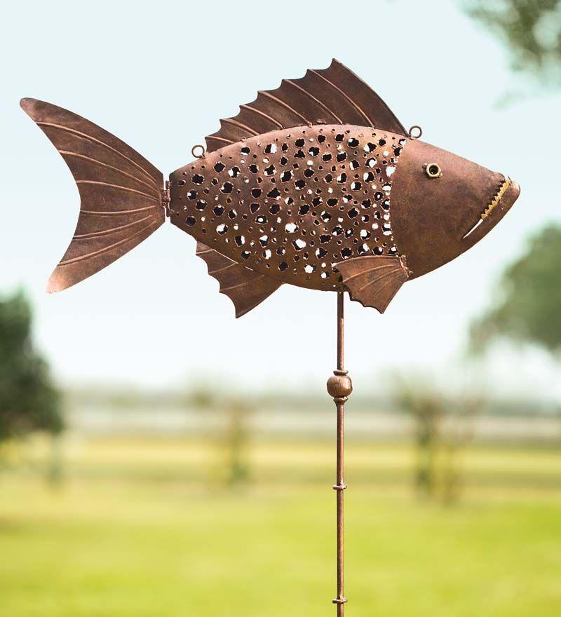 Handmade Metal Fish Garden Stake | Fish garden, Metal ...