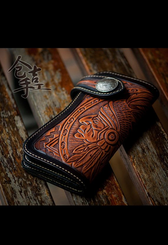New handmade leather carving wallet amerindian by