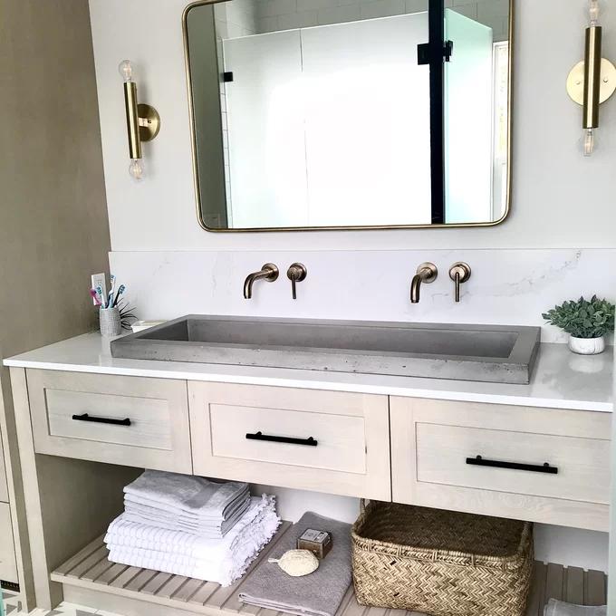 Trough Handmade Rectangular Drop In Bathroom Sink In 2020 Drop In Bathroom Sinks Bathroom Sink Sink