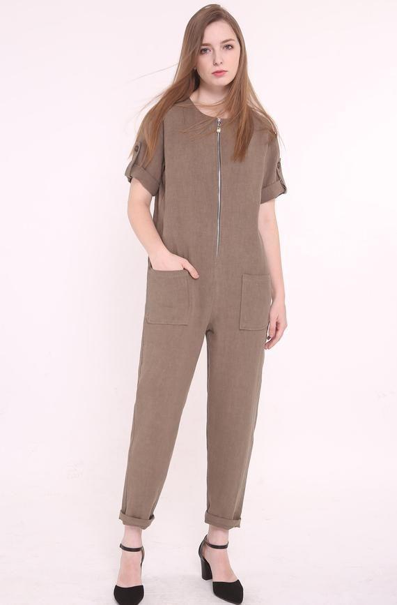 Brown linen tunic jumpsuit, womens jumpsuit, womens linen clothes, summer jumpsuit, casual, linen ov #linentunic