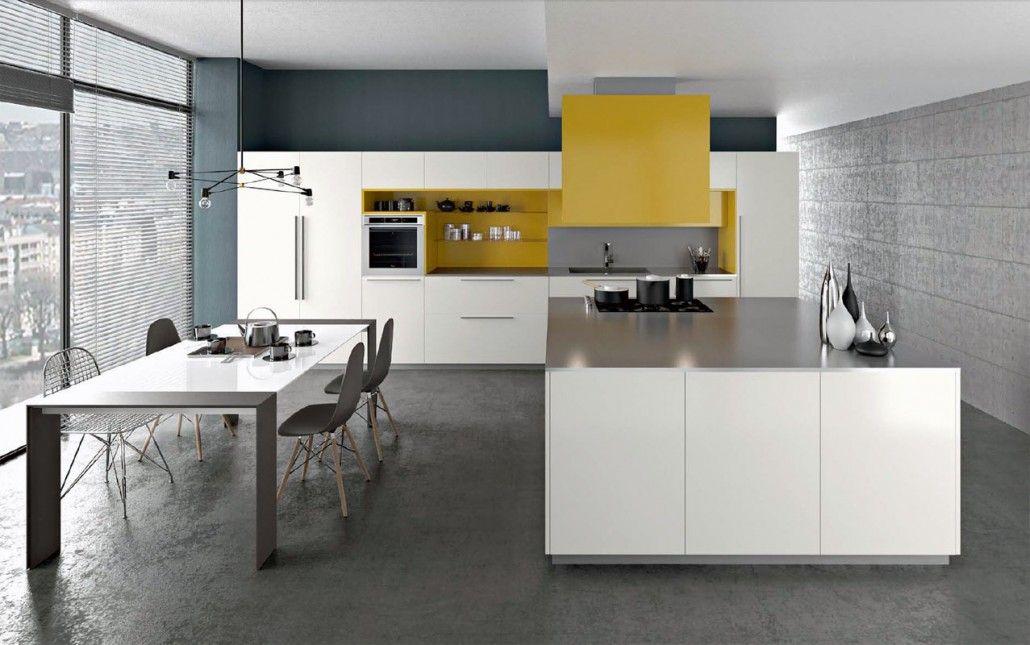 Cuisines armony mod le yota plan de travail en inox laque blanche et jaune cuisine - Modele plan de travail cuisine ...