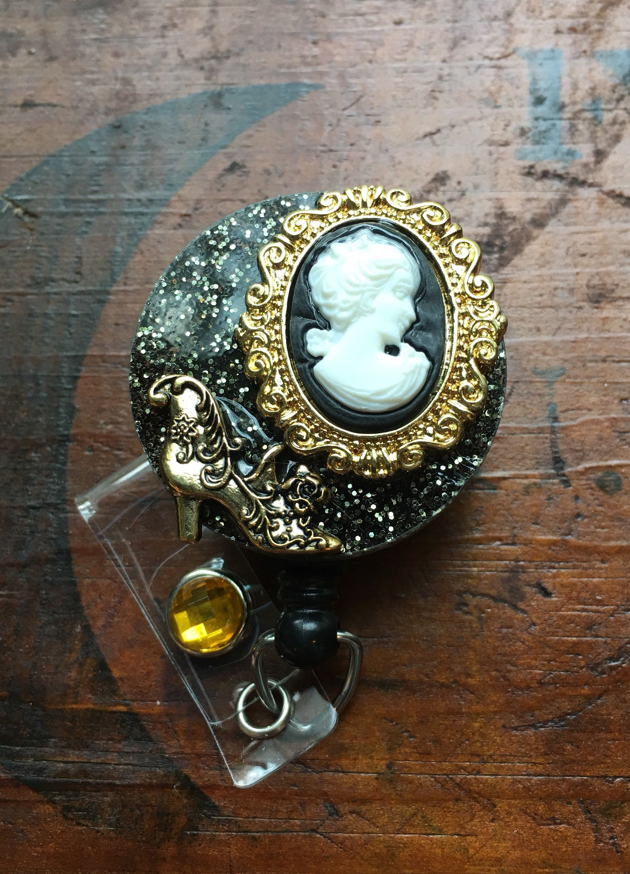 Elegant cameo id badge rn reel holder with choice of