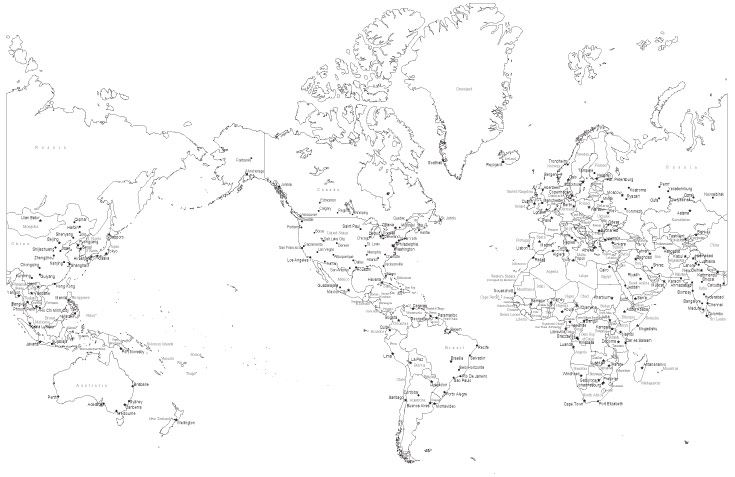 Black white world map with countries and major cities mc eur black white world map with countries and major cities mc eur 253544 adobe illustrator room ideas and room gumiabroncs